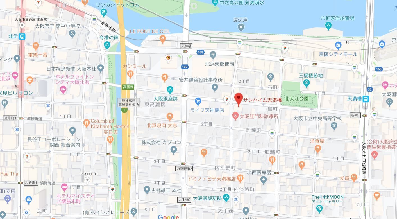 サンハイム天満橋地図