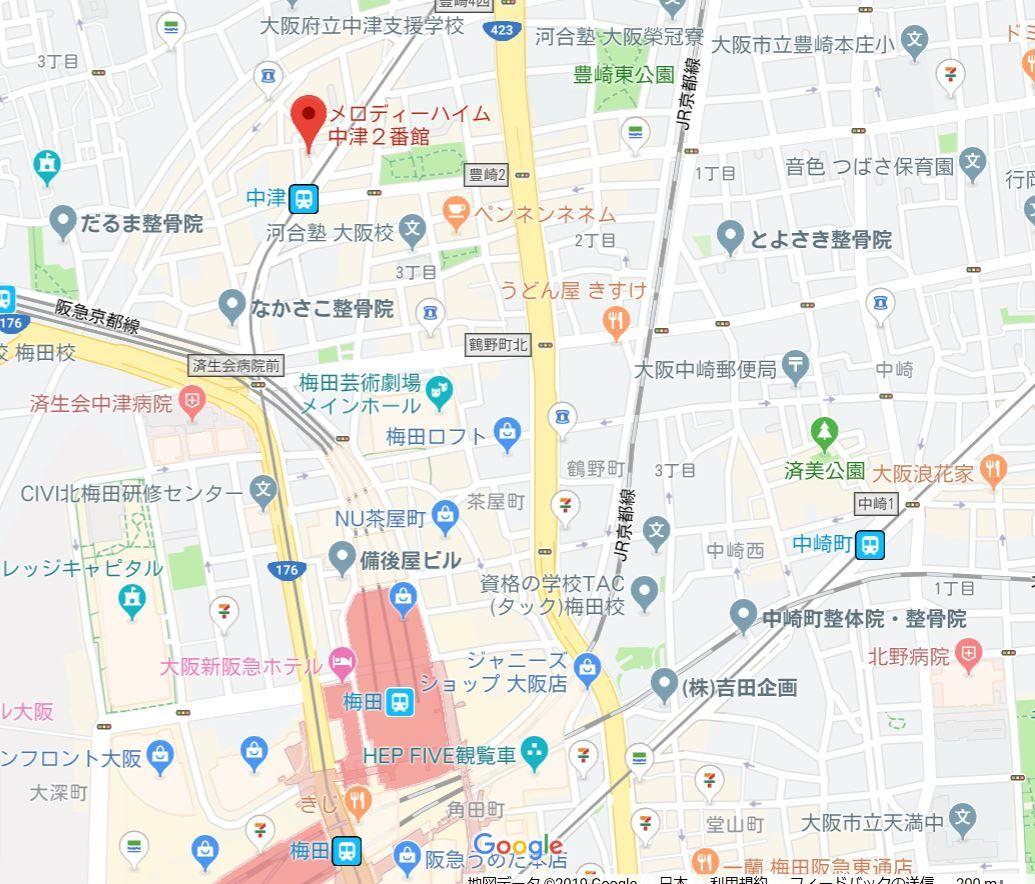 メロディーハイム中津2番館地図
