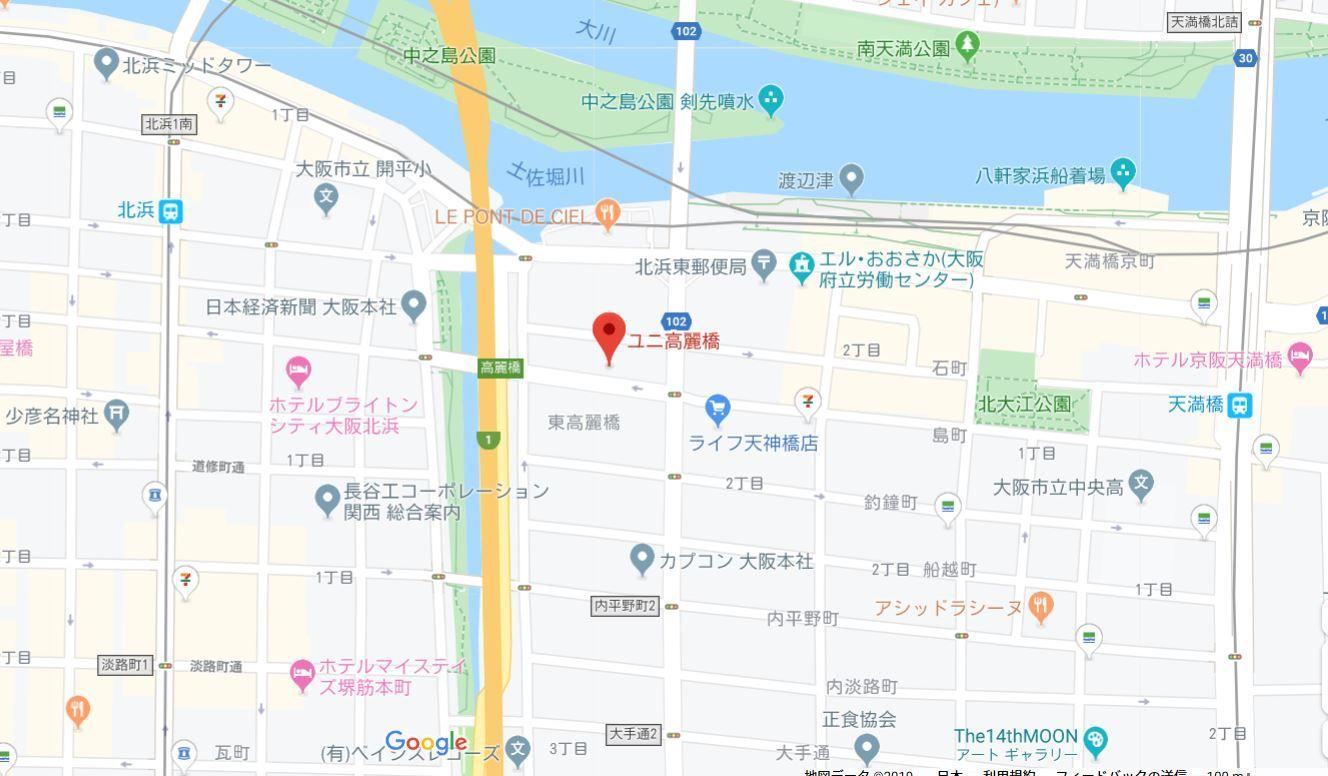 ユニ高麗橋地図