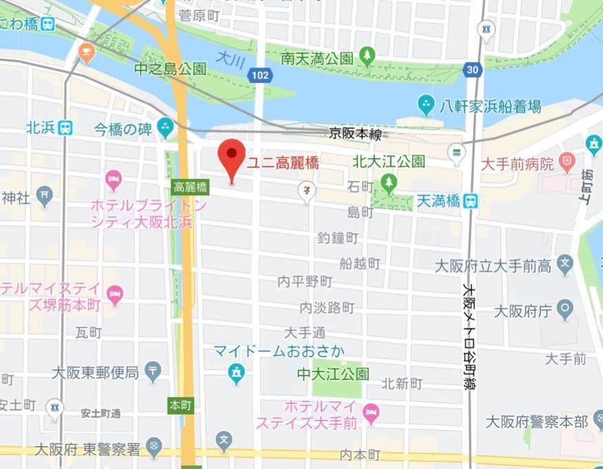 ユニ高麗橋 地図