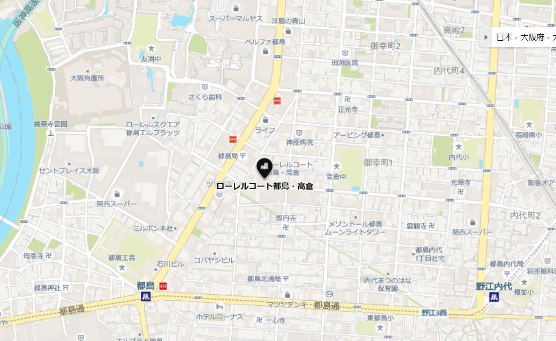 ローレルコート都島高倉地図
