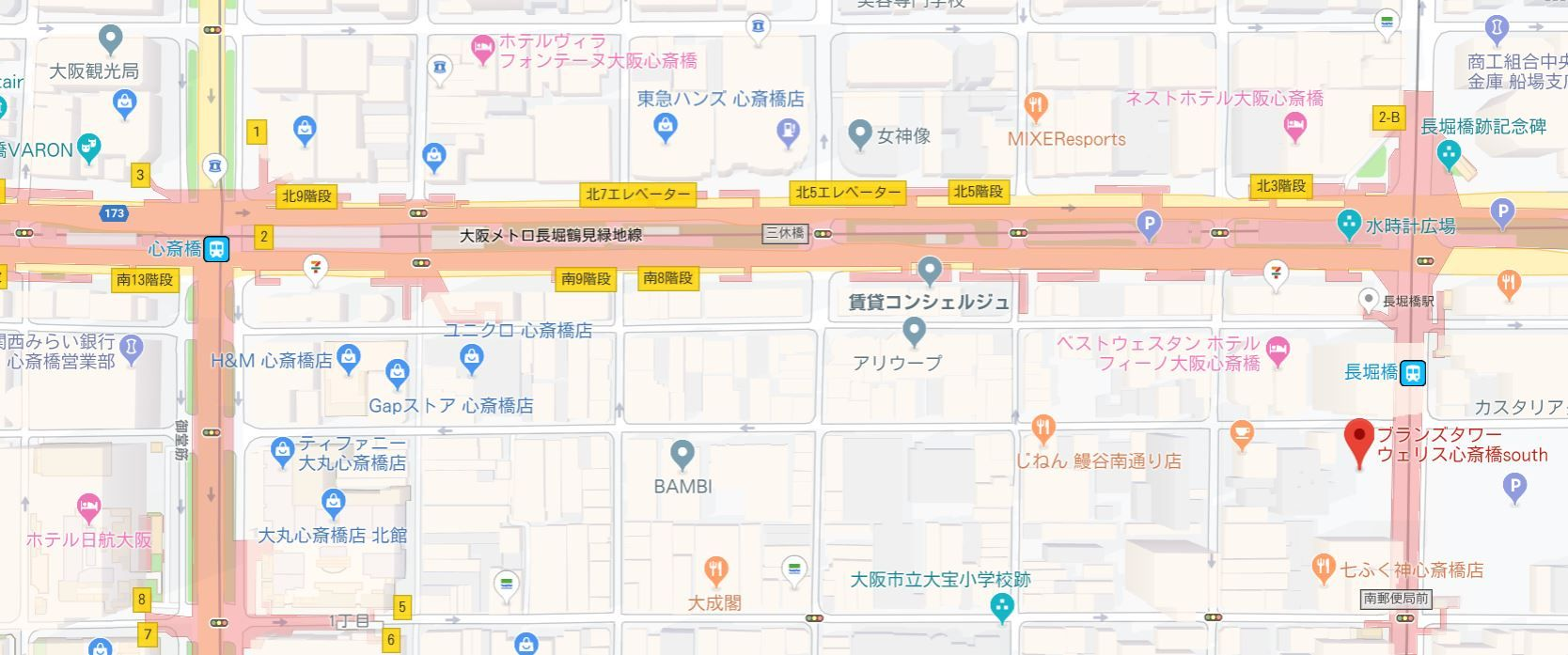 ブランズタワー・ウェリス心斎橋地図
