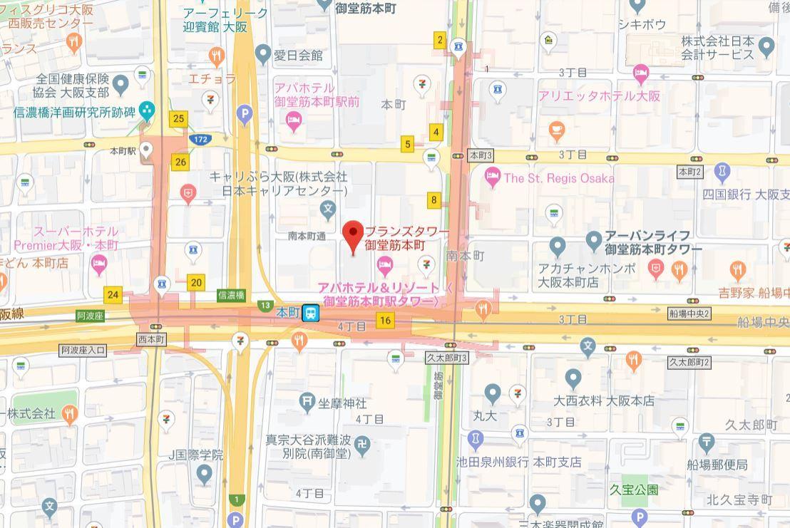 ブランズタワー御堂筋本町地図
