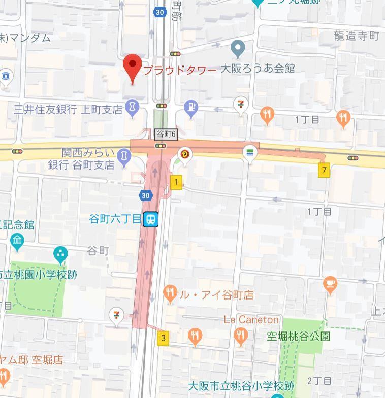 プラウドタワー安堂寺地図