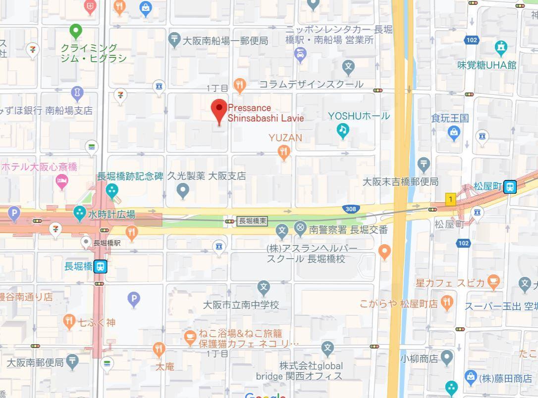 プレサンス心斎橋ラヴィ地図