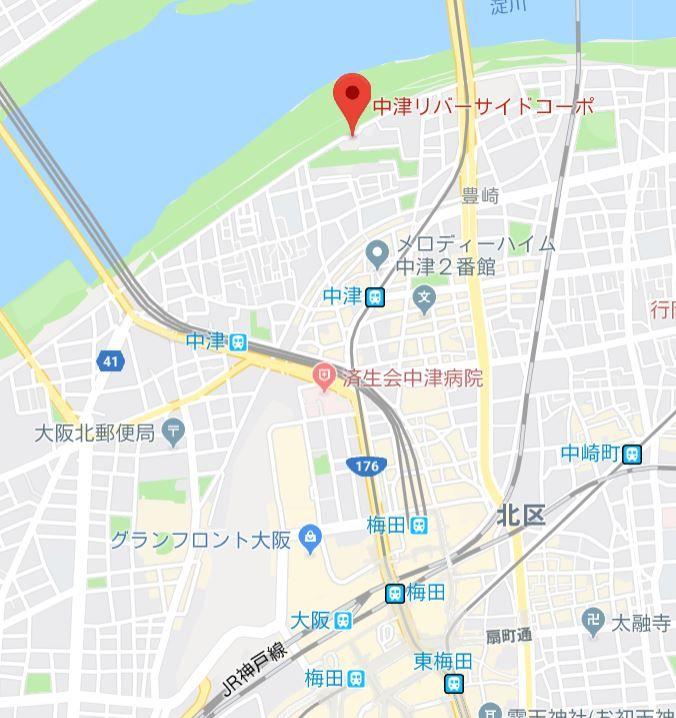 中津リバーサイドコーポA地図
